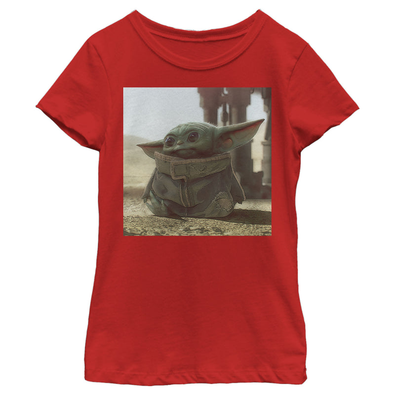 Star Wars The Mandalorian Girl's The Child Square Frame  T-Shirt  Red  XS