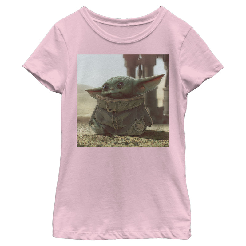 Star Wars The Mandalorian Girl's The Child Square Frame  T-Shirt  Light Pink  XS