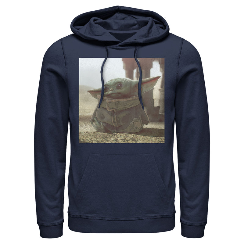 Star Wars The Mandalorian Men's The Child Square Frame  Pull Over Hoodie