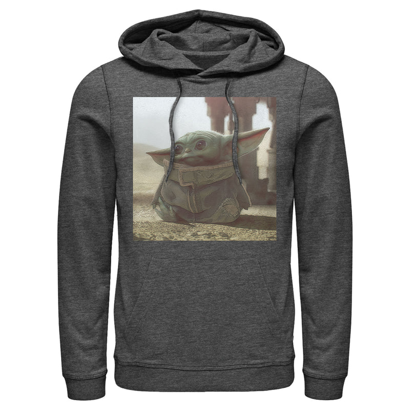 Star Wars The Mandalorian Men's The Child Square Frame  Pull Over Hoodie  Charcoal Heather  M