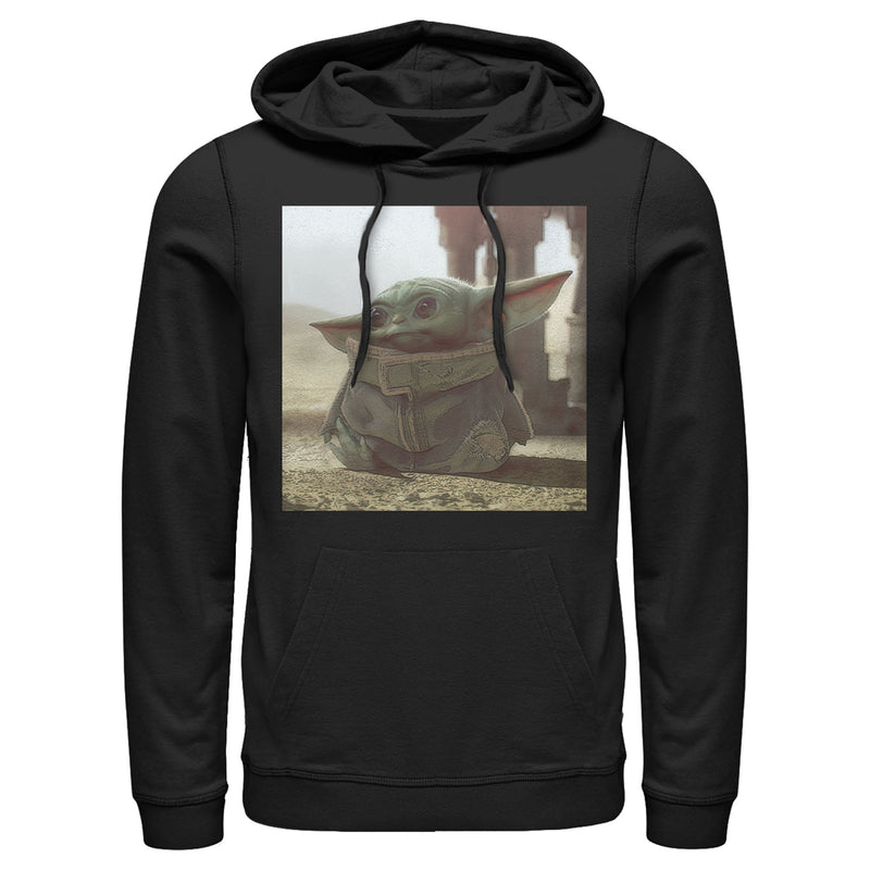 Star Wars The Mandalorian Men's The Child Square Frame  Pull Over Hoodie  Black  S