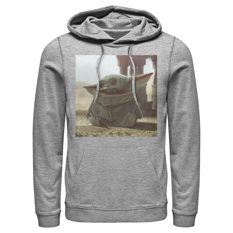 Star Wars The Mandalorian Men's The Child Square Frame  Pull Over Hoodie  Athletic Heather  S