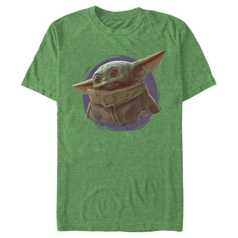 Star Wars The Mandalorian Men's The Child Circle Halo  T-Shirt  Kelly Heather  S