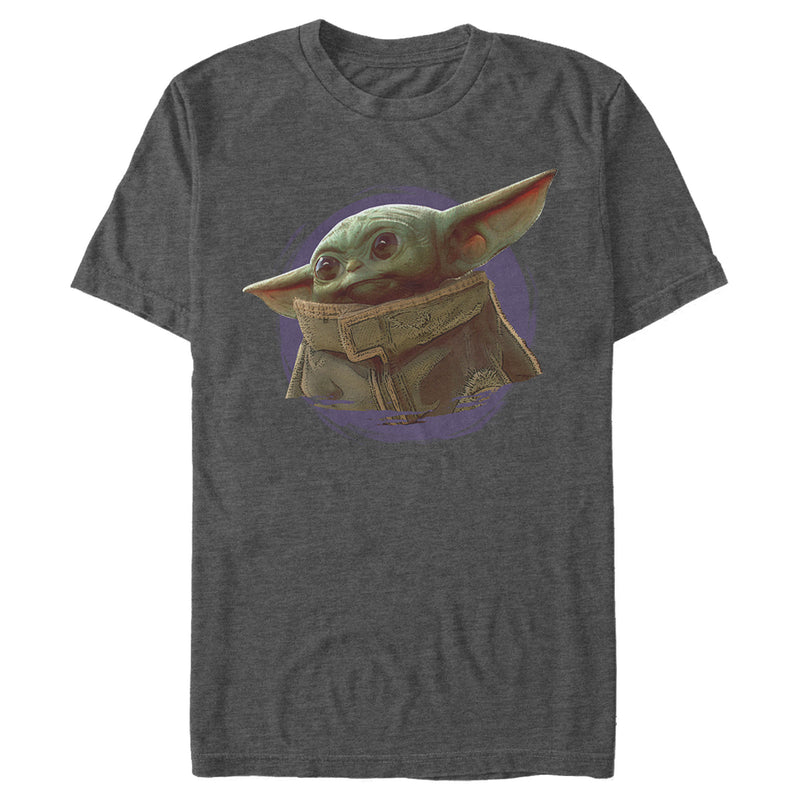 Star Wars The Mandalorian Men's The Child Circle Halo  T-Shirt  Charcoal Heather  S