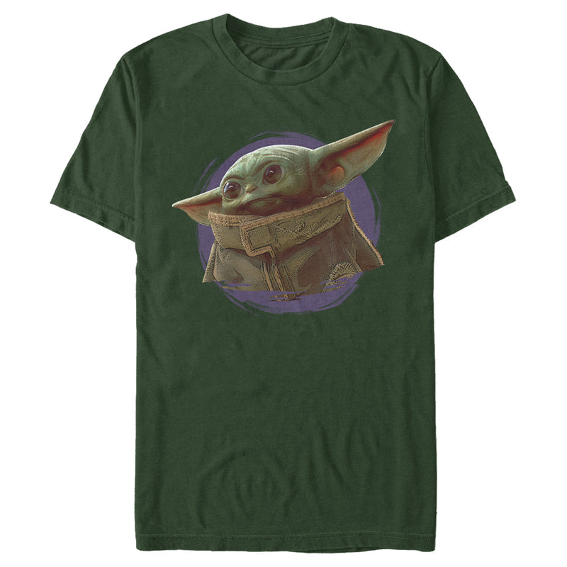 Star Wars The Mandalorian Men's The Child Circle Halo  T-Shirt  Dark Green  L