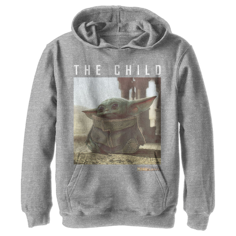 Star Wars The Mandalorian Boy's The Child Frame  Pull Over Hoodie  Athletic Heather  M