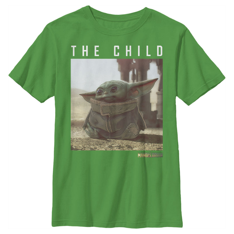 Star Wars The Mandalorian Boy's The Child Frame  T-Shirt  Kelly Green  L