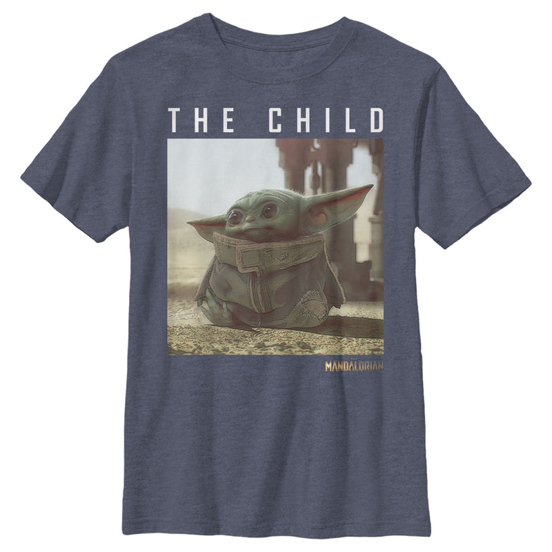 Star Wars The Mandalorian Boy's The Child Frame  T-Shirt  Navy Blue Heather  L