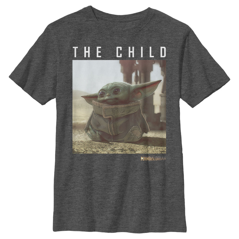 Star Wars The Mandalorian Boy's The Child Frame  T-Shirt  Charcoal Heather  M