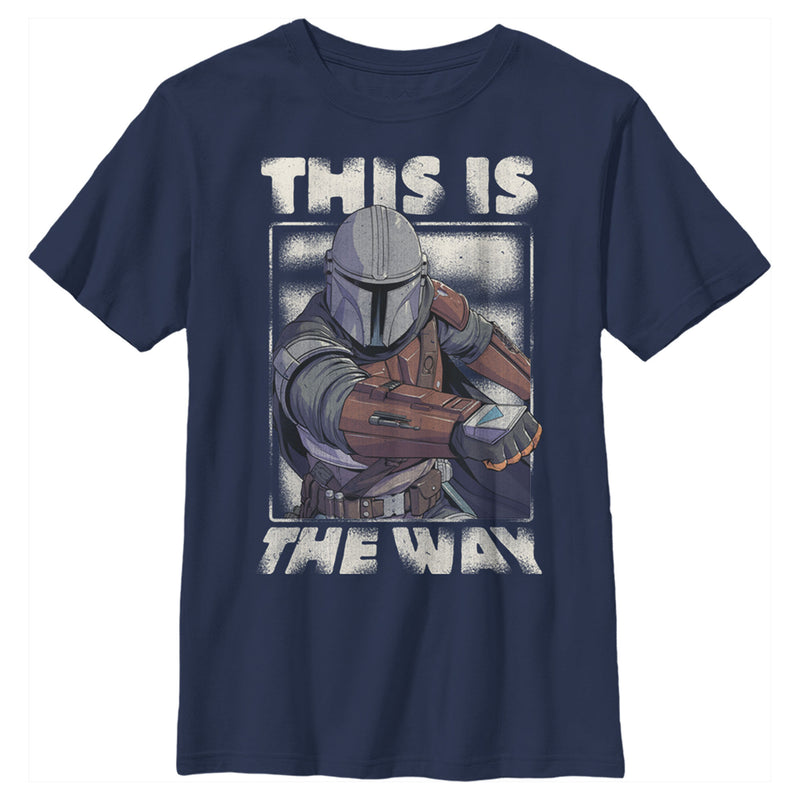 Star Wars The Mandalorian Boy's This Is The Way Mando  T-Shirt  Navy Blue  L