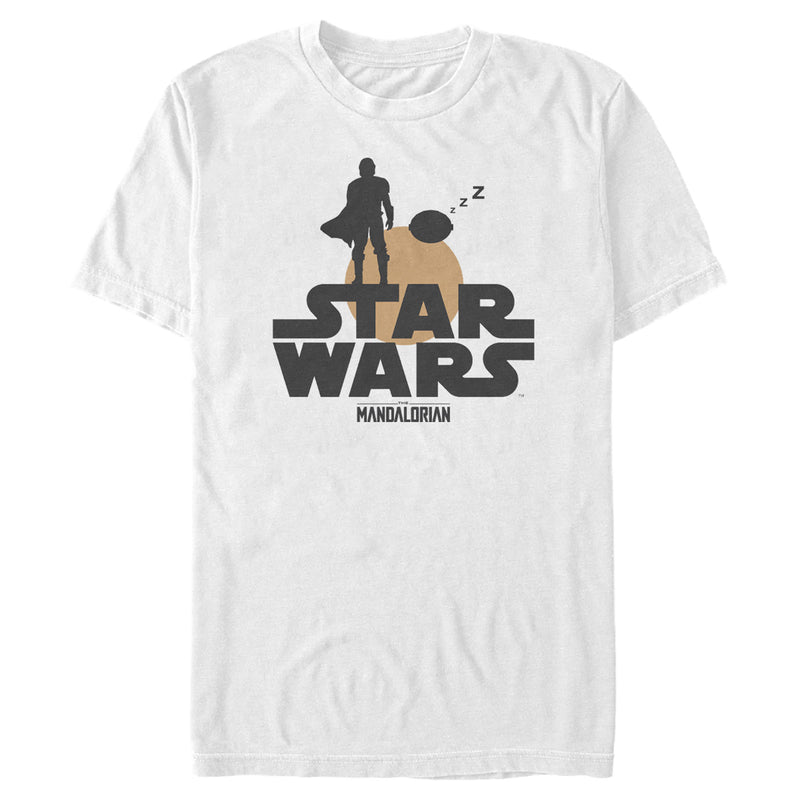 Star Wars The Mandalorian The Child and Bounty Hunter Silhouette Sunset Mens Graphic T Shirt