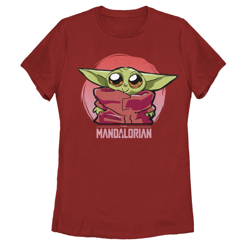 Star Wars The Mandalorian Women's The Child Circle  T-Shirt  Red  M