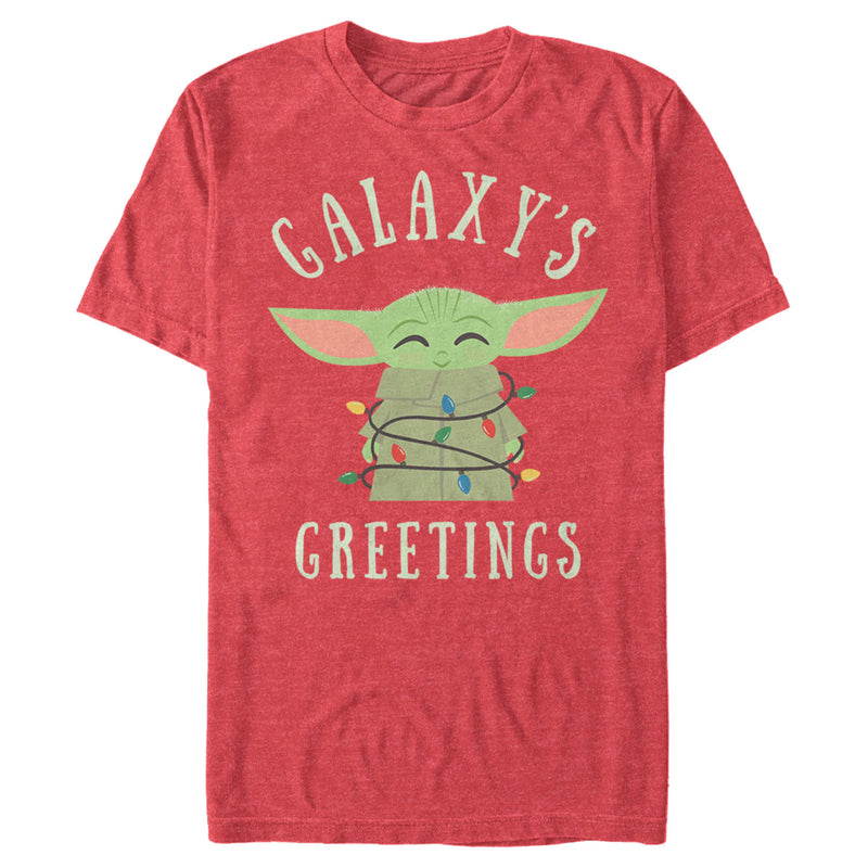 Star Wars The Mandalorian Men's Christmas The Child Greetings  T Shirt