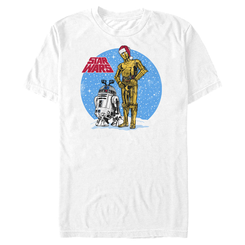 Star Wars Men's C-3PO and R2-D2 Snowscape  T-Shirt  White  L