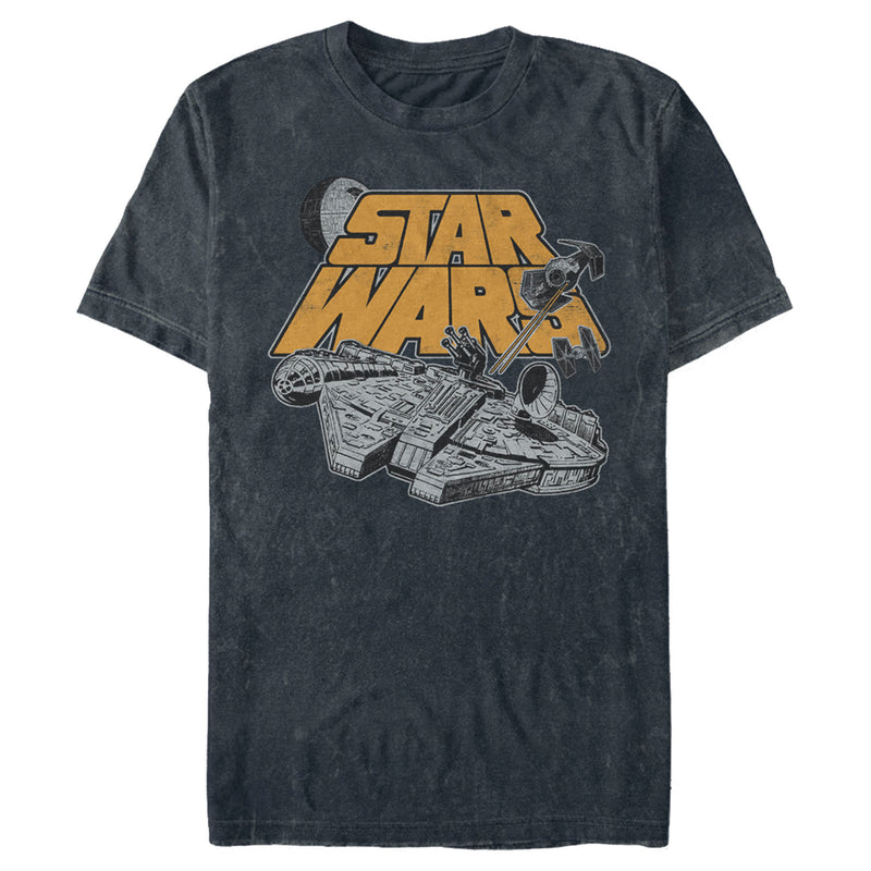 Star Wars Men's Millennium Falcon Heated Chase  T Shirt