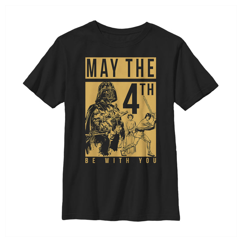 Star Wars Boy's May the Fourth Two Tone Box  T-Shirt  Black  XS