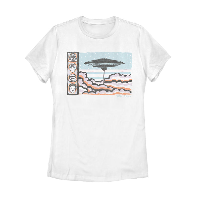 Star Wars Women's Cloud City Travel Poster  T-Shirt  White  2XL