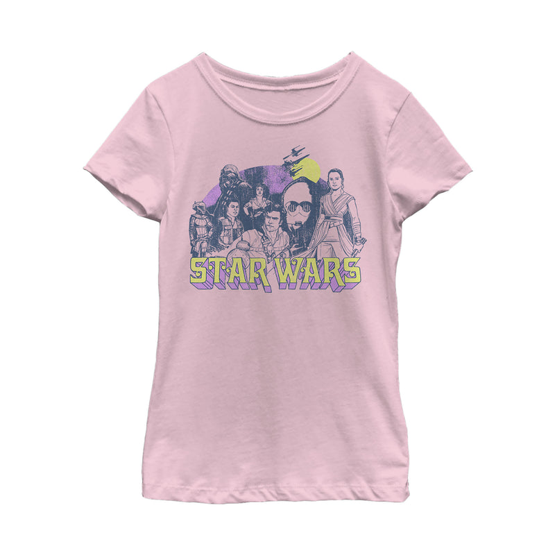 Star Wars: The Rise of Skywalker Girl's Vintage Collage  T-Shirt  Light Pink  S