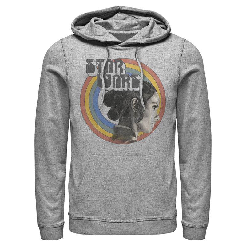 Star Wars: The Rise of Skywalker Rey Vintage Rainbow Mens Graphic Lightweight Hoodie