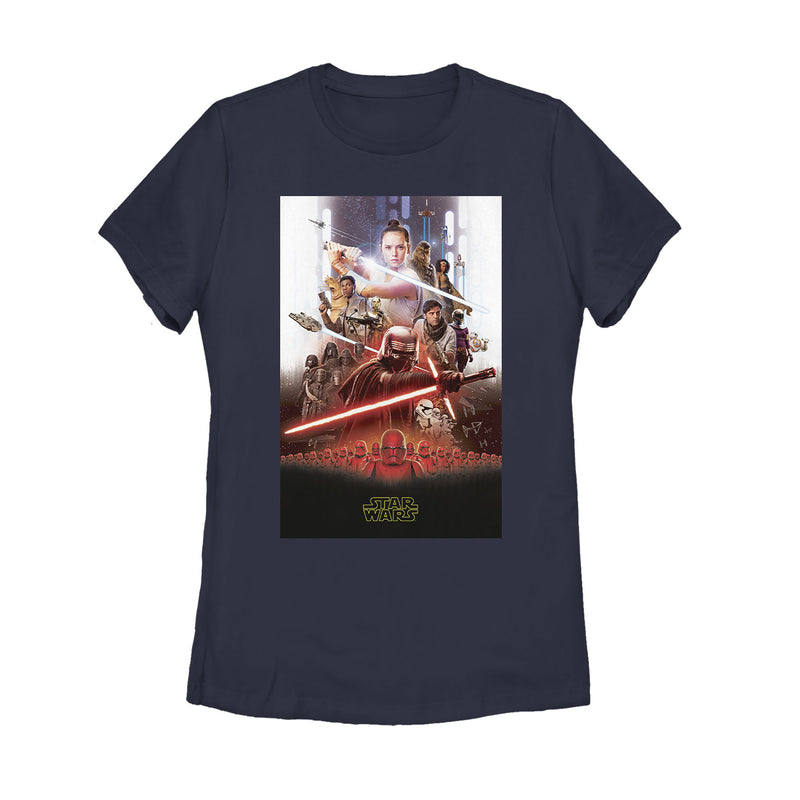 Star Wars: The Rise of Skywalker Women's Epic Poster  T-Shirt  Navy Blue  S