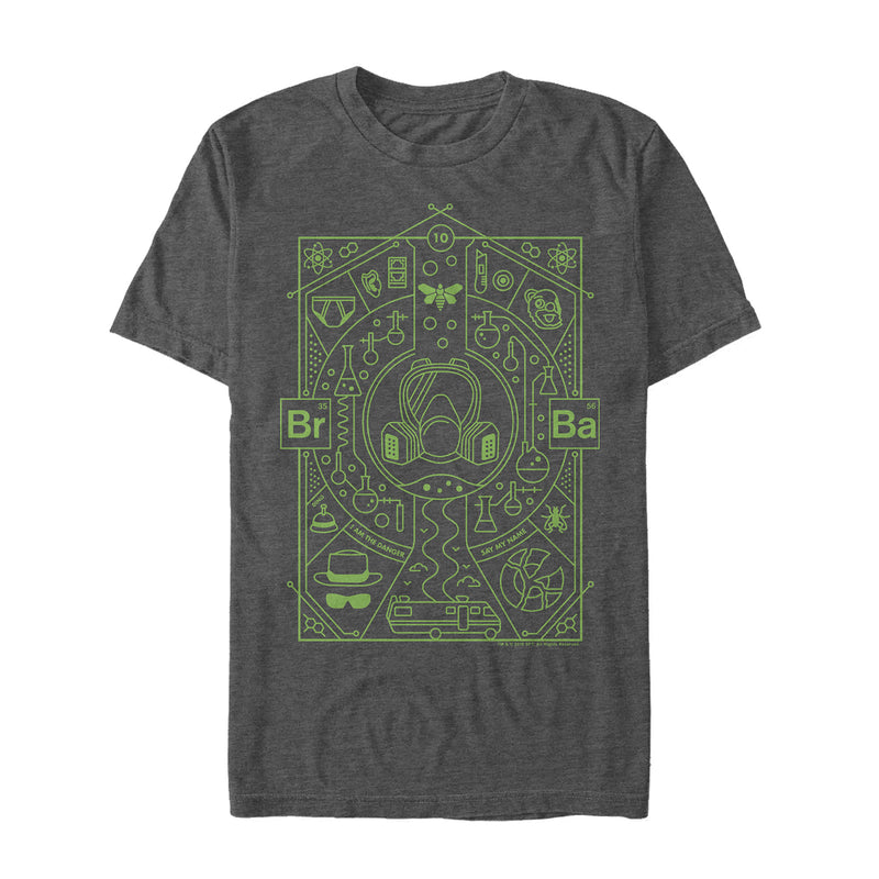 Breaking Bad Men's Walter Symbols  T-Shirt  Charcoal Heather  XL