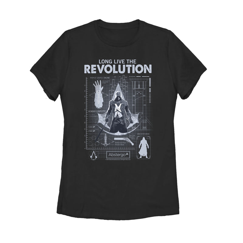 Assassin's Creed Unity Long Live the Revolution Blueprint Womens Graphic T Shirt