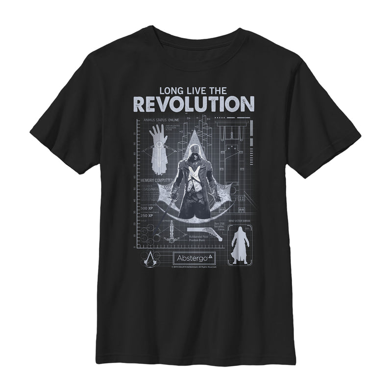 Assassin's Creed Unity Long Live the Revolution Blueprint Boys Graphic T Shirt