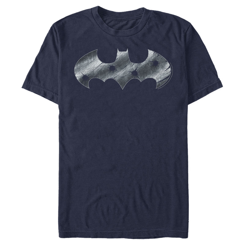 Batman Men's Steel Scars Logo  T-Shirt  Navy Blue  2XL