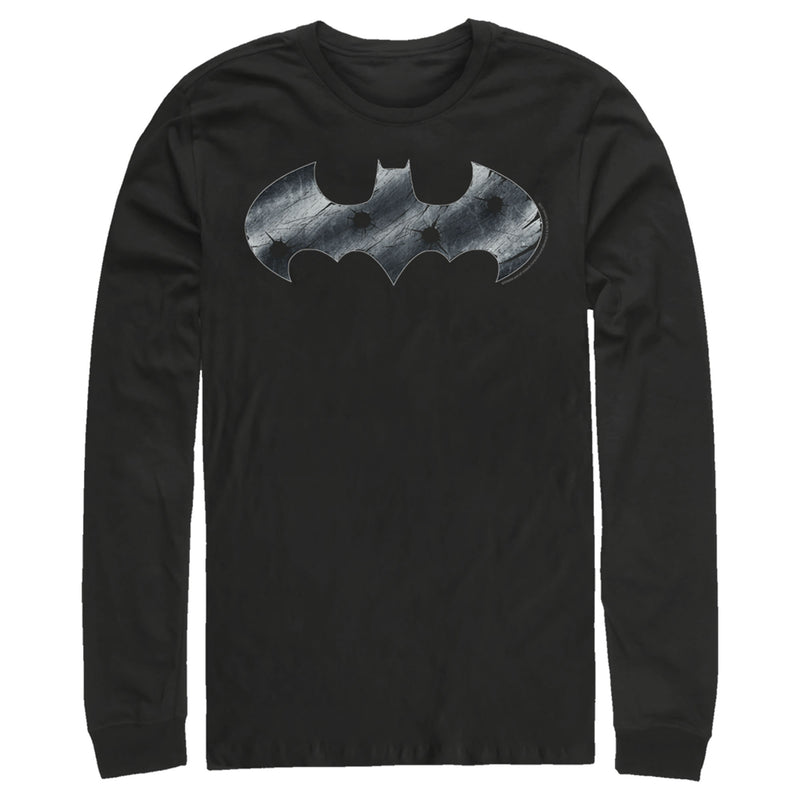 Batman Steel Scars Logo Mens Graphic Long Sleeve Shirt