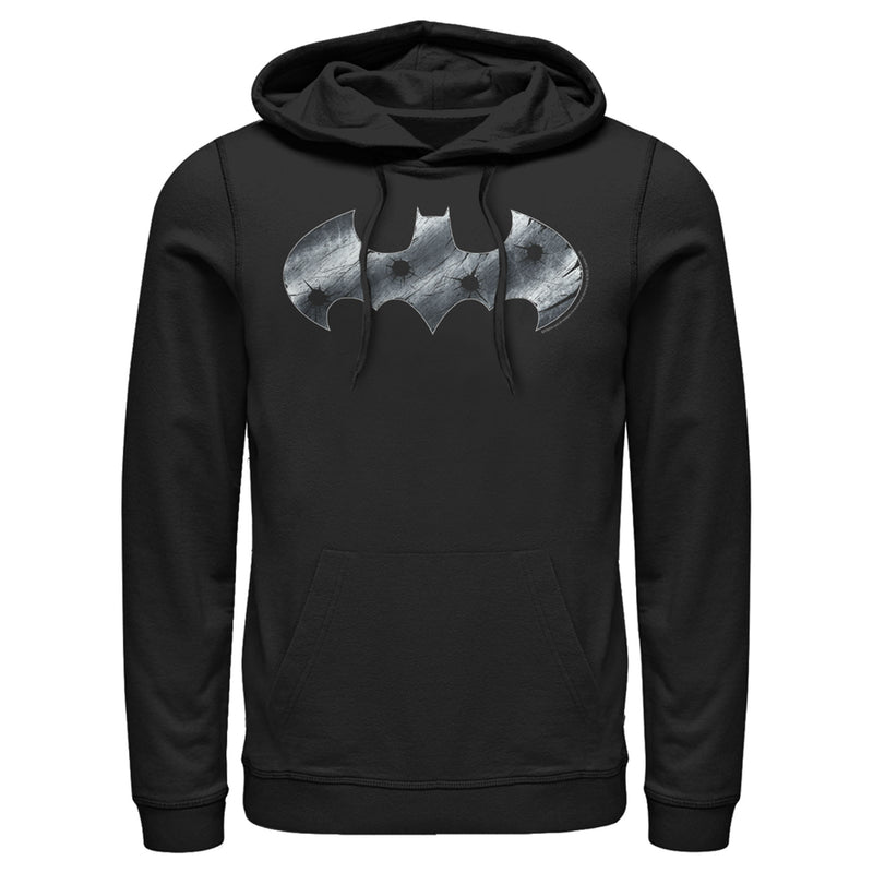 Batman Men's Steel Scars Logo  Pull Over Hoodie  Black  S