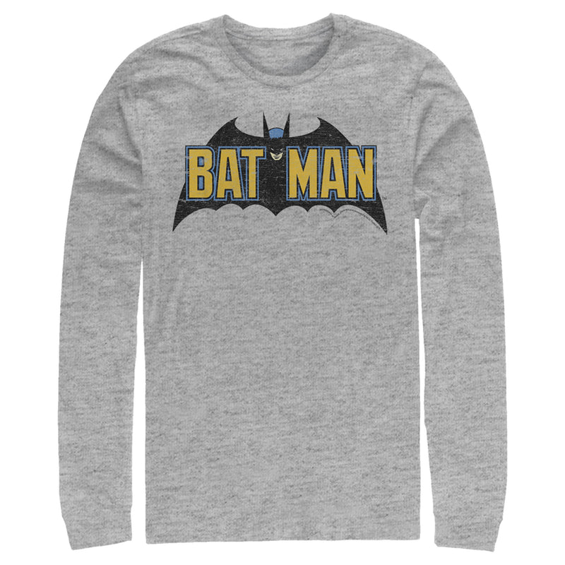 Batman Men's Caped Crusader Logo  Long Sleeve Shirt  Athletic Heather  XL