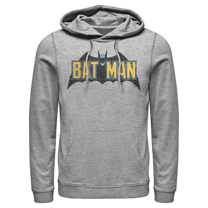Batman Men's Caped Crusader Logo  Pull Over Hoodie  Athletic Heather  3XL