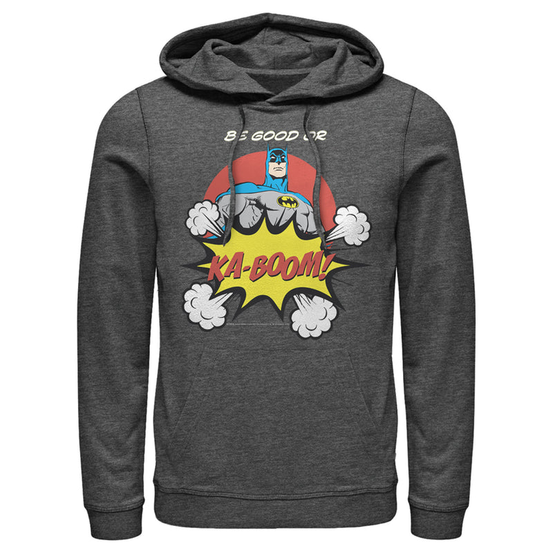 Batman Men's Be Good or Kaboom  Pull Over Hoodie  Charcoal Heather  L