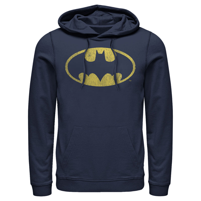 Batman Men's Logo Retro Caped Crusader  Pull Over Hoodie  Navy Blue  S