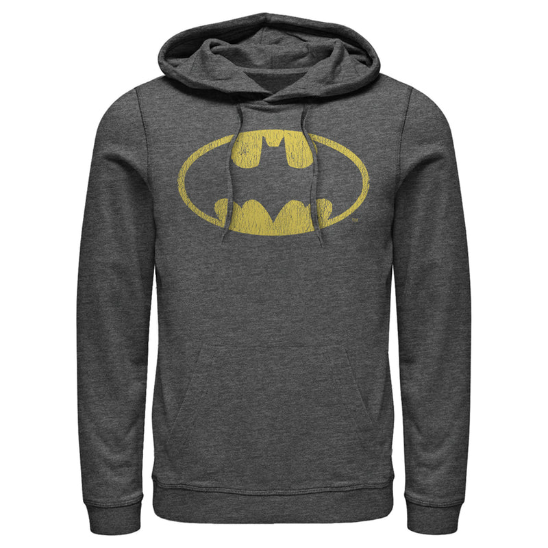 Batman Men's Logo Retro Caped Crusader  Pull Over Hoodie  Charcoal Heather  M