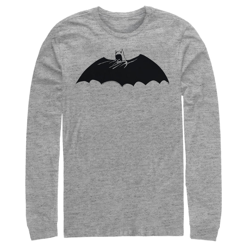 Batman Men's Caped Crusader Silhouette  Long Sleeve Shirt  Athletic Heather  M