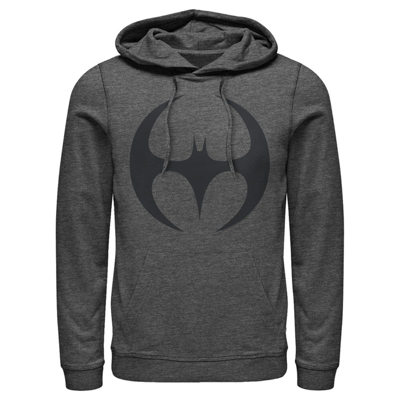 Batman Men's Logo Modern Wing Curve  Pull Over Hoodie  Charcoal Heather  L