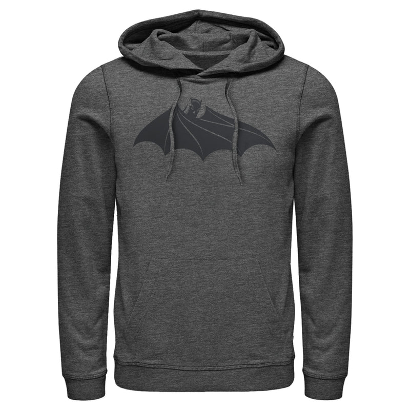 Batman Men's Logo Hidden Wing  Pull Over Hoodie  Charcoal Heather  M