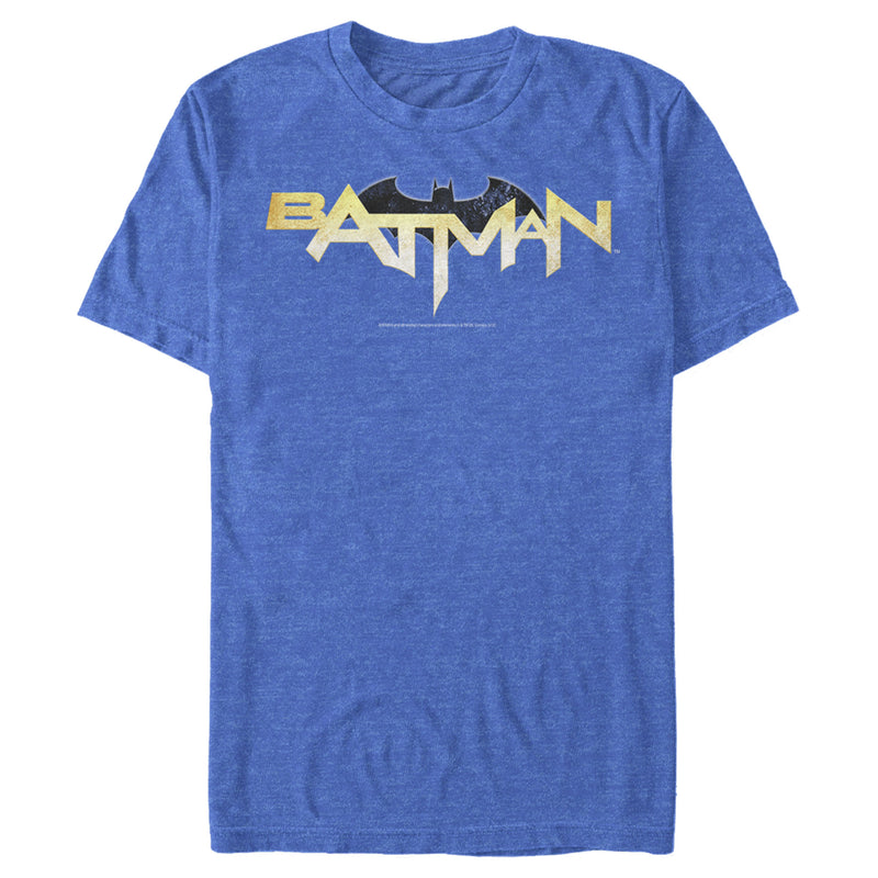 Batman Men's Logo Messy Text  T-Shirt  Royal Blue Heather  M