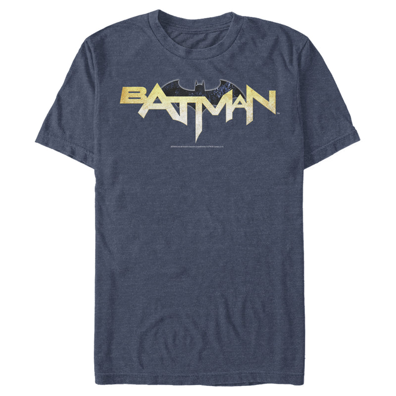 Batman Men's Logo Messy Text  T-Shirt  Navy Blue Heather  M