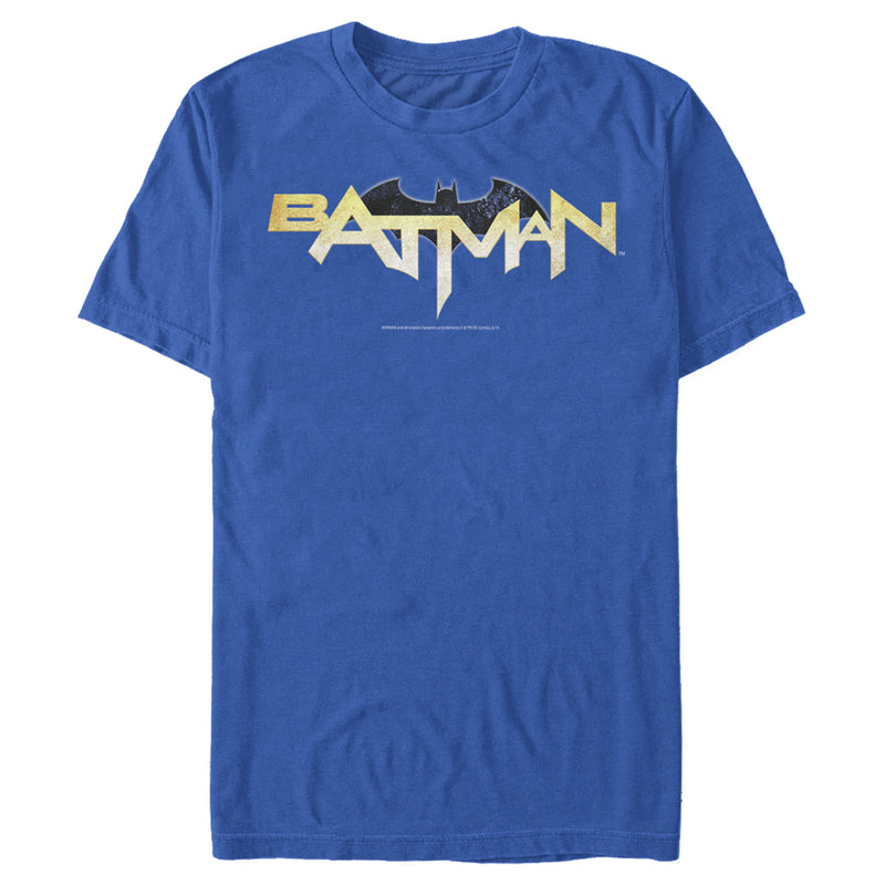 Batman Men's Logo Messy Text  T-Shirt  Royal Blue  M