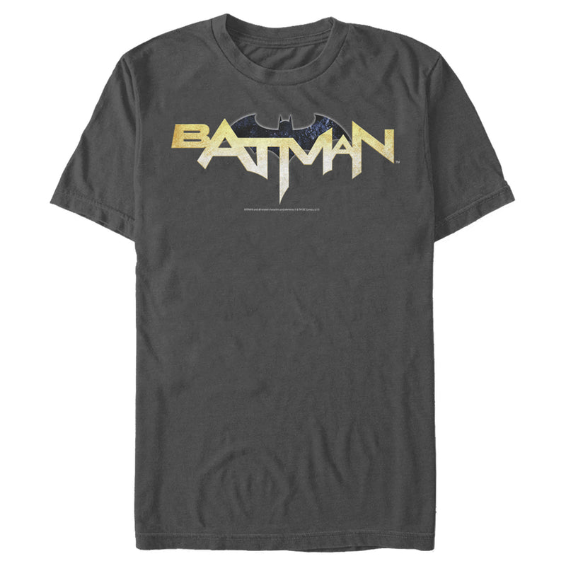 Batman Men's Logo Messy Text  T-Shirt  Charcoal  XL