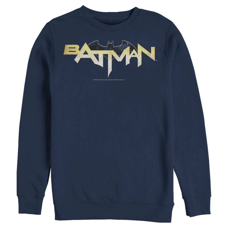 Batman Men's Logo Messy Text  Sweatshirt  Navy Blue  L