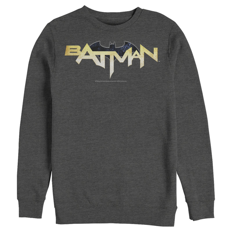 Batman Men's Logo Messy Text  Sweatshirt  Charcoal Heather  S