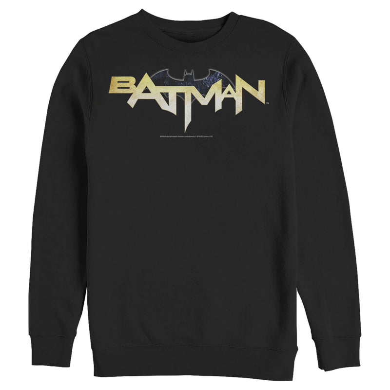 Batman Men's Logo Messy Text  Sweatshirt  Black  M