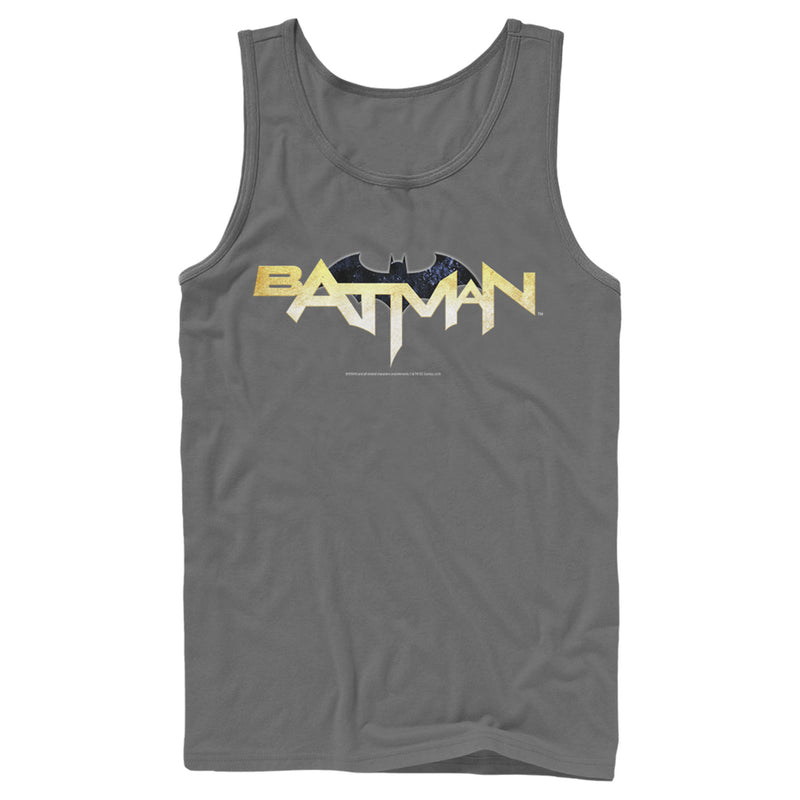 Batman Logo Messy Text Mens Graphic Tank Top