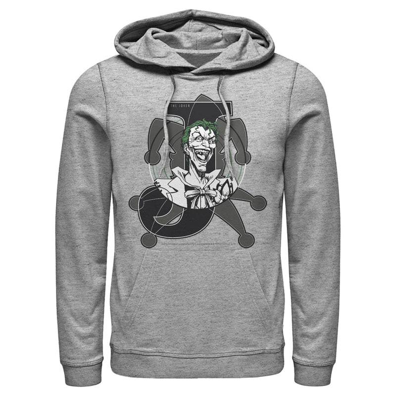 Batman Men's Joker Symbol  Pull Over Hoodie  Athletic Heather  L