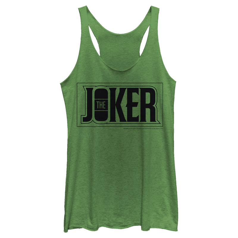 Batman Women's Joker Text Logo  Racerback Tank Top  Envy Green  2XL