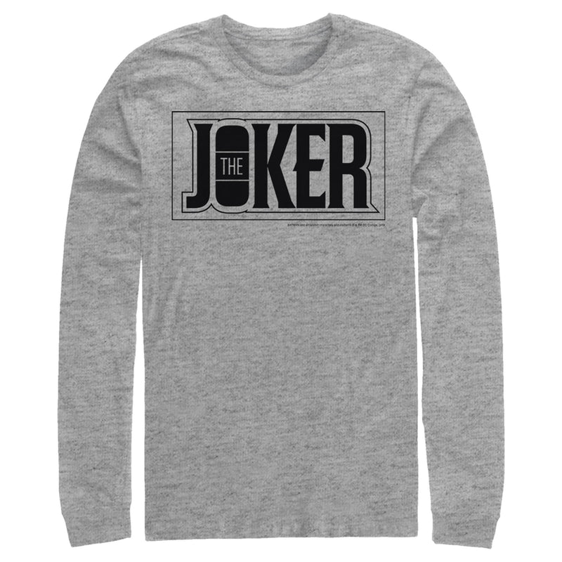 Batman Men's Joker Text Logo  Long Sleeve Shirt  Athletic Heather  L