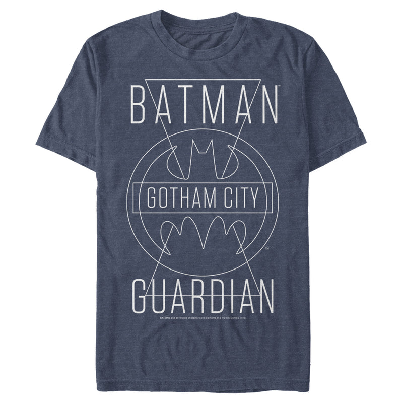 Batman Men's Gotham City Guardian  T-Shirt  Navy Blue Heather  L